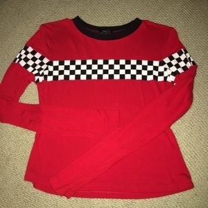 Rue 21 long sleeve checkered cropped top